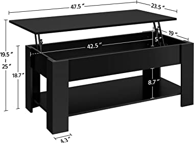 Yaheetech Lift Top Coffee Table w/Hidden Compartment and Open Storage Shelf for Living Room Reception Room, Pop-Up Center Tab