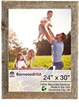 BarnwoodUSA Rustic 24 by 30 Inch Wooden Picture Frame with 1 1/2 Inch Wide Molding - 100% Reclaimed Wood, Weathered Gray