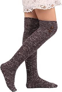 Women's Buttons Cotton Knit Knee High Boot Socks