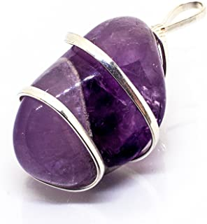 Raw Purple Amethyst Crystal Pendant Necklace –Focus Relax Concentrate Calm Natural Stress Aid Soothe Mind Emotions - Authentic Stone on Silver Plated 18