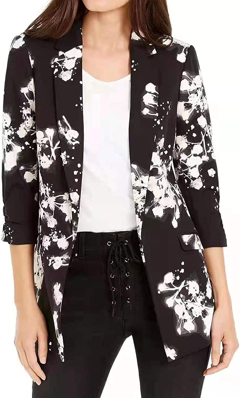 FlekmanArt Women's Fashion Blazer Autumn and Winter Suit Jacket Loose Lapel Lightweight Thin Cardigan Outerwear Coat