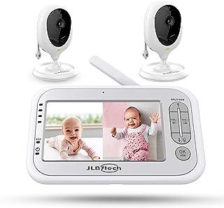 Monitor de bebé, pantalla dividida de 5 pulgadas, monitor de bebé de vídeo con 2 cámaras y audio, visión nocturna, conversación bidireccional, largo alcance, tiempo de alimentación, cunas, detección de temperatura, ahorro de energía/Vox, zoom