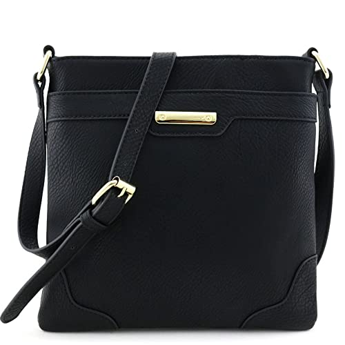 5ab1c97872 Medium Size Solid Modern Classic Crossbody Bag with Gold Plate