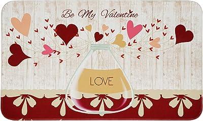 Valentine's Day Area Rug, Love Heart Doormat, Be My Valentine Indoor Floor Mats, Soft Indoor Rug for Bedroom Living Room Valentines Decoration Gift, 18 x 30 Inch