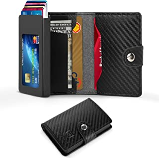 Card Holder Wallet, Carbon Fiber Slim Wallet RFID Blocking, Minimalist Credit Card Holder with Hand-Push Metal Card Case & Card Slots &Cash Bills Holder, Great Gift for Men