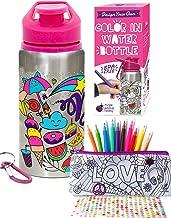 Purple Ladybug CREA tu Propia Botella de Agua Personalizada con 10 Rotuladores Vivos Pegatinas de Gemas y Estuche de Regalo – Botella de Agua para Niños, Sin BPA Niña