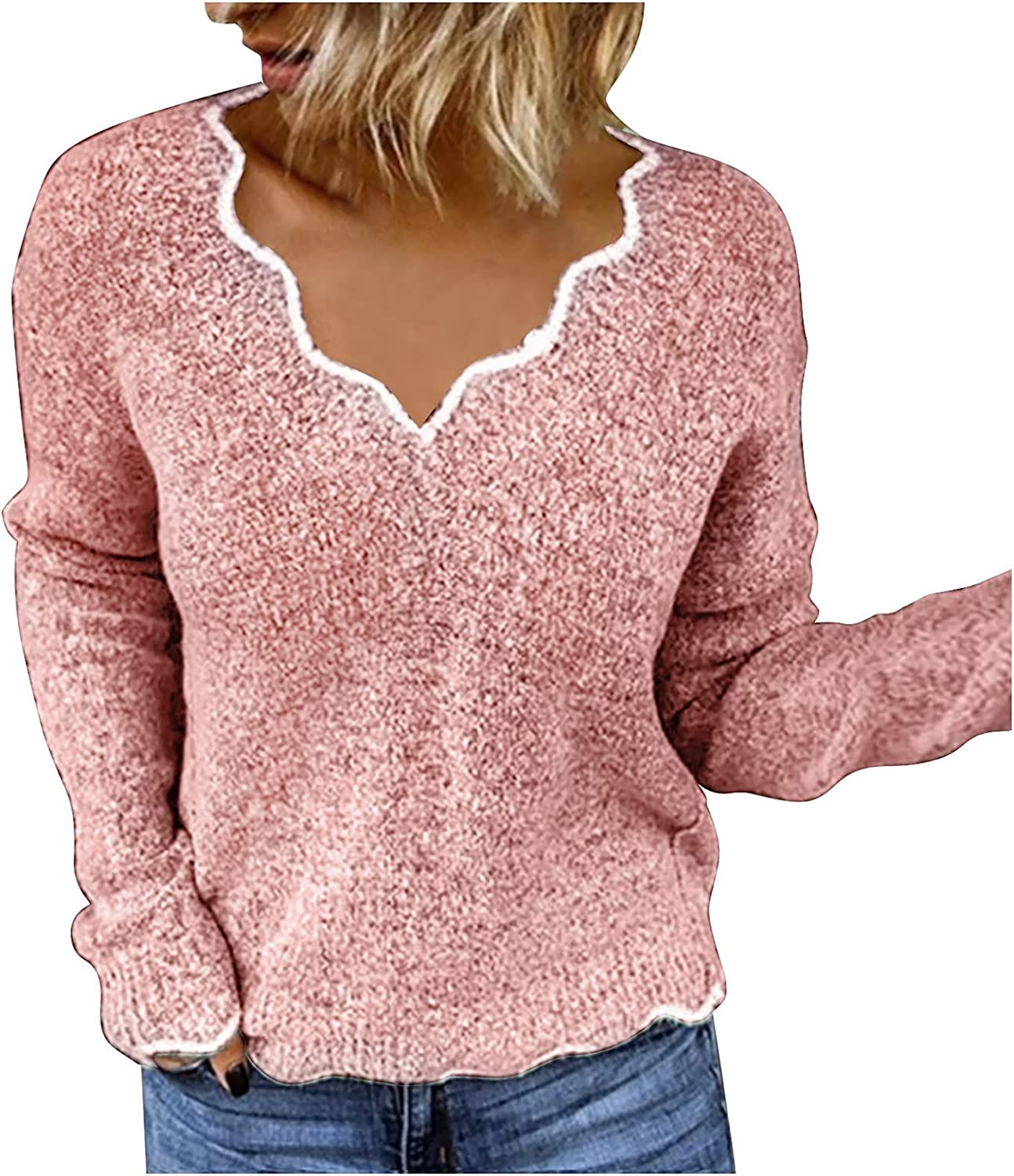 Women's Regular Fit Knitted Sweater Long Sleeve V-Neck Long Sleeve Color Block Pullover Sweaters Tops Ripped Knit Jumper