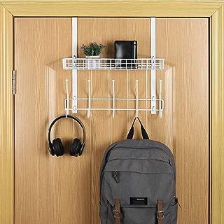 Hanging Coat Rack Over The Door Hook Organizer Rack with Basket Storage Shelf for Towels, Hats, Handbags, Coats (White)