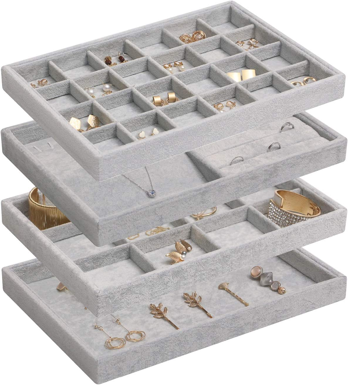 Ring Earrings Necklace Jewelry Display Organizer Box Tray Showcase Holder Gray