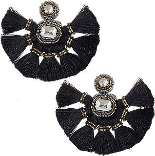 Fan Tassel Earrings Beaded Fringe Earrings Hoop Tassel Earrings Fringe For Women Fashion Statement Bohemian Large Fanned Earrings Big Layered Hanging Silk Thread Boho Fringe Tassel Earrings For Gift