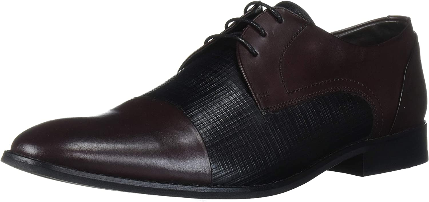 MARC JOSEPH NEW YORK Men's Leather Luxury Gold Collection Lace Up Dress Shoe with Captoe Detail Oxford