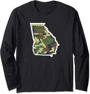 Georgia Home Shirt, Hunting Gear, Camo Map Apparel Long Sleeve T-Shirt