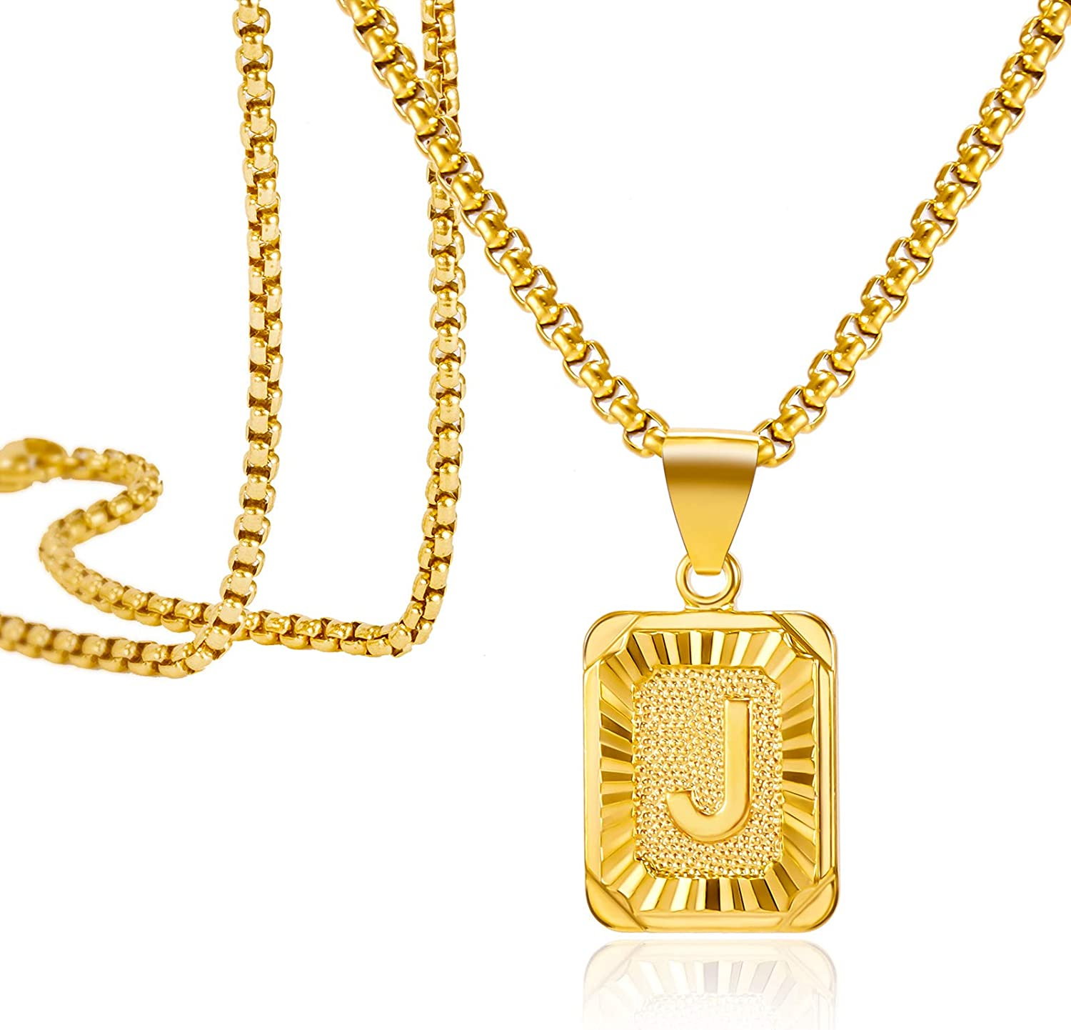 Harlermoon Initial Pendant Necklace A-Z 26 Capital Letters Monogram Name Necklace Box Chain Jewelry for Men Women