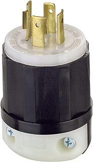 Leviton 2431 20 Amp, 480 Volt 3-phase, NEMA L16-20P, 3P, 4W, Locking Plug, Industrial Grade, Grounding - Black-White