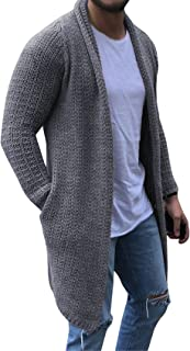 FUERI Mens Shawl Collar Cardigan Long Open Edge Knit Sweater Lightweight Warm Winter Coat Jumper Slim Fit Outwear Knitwear...