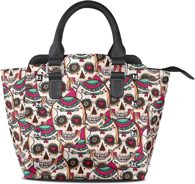 Sunlome Sugar Skull Print Women's Leather Tote Shoulder Bags Handbags