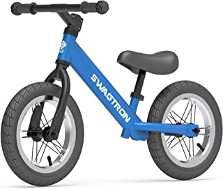 """Swagtron K3 12"""" No-Pedal Balance Bike for Kids Ages 2-5 Years   Air-Filled Rubber Tires   7 lbs Lightweight   12""""~16"""" Heig..."""