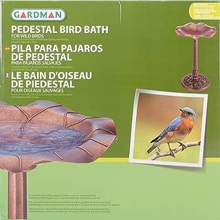 Gardman BA01282 Lily Leaf Pedestal Bird Bath, Antique Bronze Effect, 20