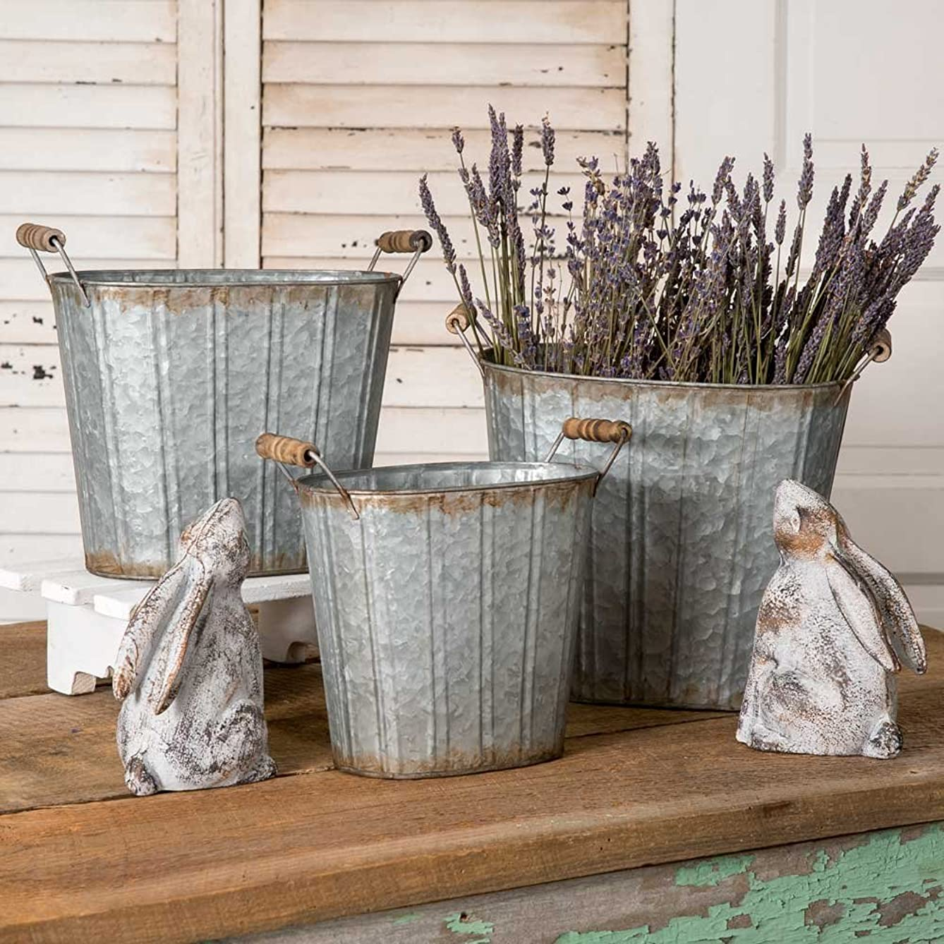 Set of 3 Tapered Galvanized Pails w/ Wooden Handles