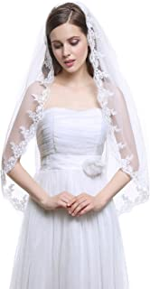 Bridal Wedding Veil 1 Tier Ivory and White Fingertip Tulle Applique Edge with Comb