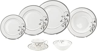 Porcelain Dinnerware Set, 28-Piece Bone China Service by Lorren Home Trends/Viola Design: Dinner Plates, Soup Bowls, Salad Plates, Butter Dishes, Coffee Cups with Saucers, Dessert Bowls
