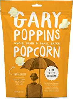 Gary Poppins Popcorn - Gourmet Flavored Popped Popcorn - 4 Pack Aged White Cheddar (4oz)