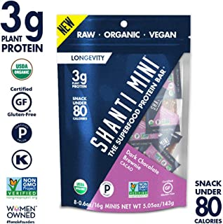 SHANTI BAR Vegan Organic Superfood Mini Protein Bar | 3g Plant Based Protein | Raw Gluten Free Snack Bars | Performance Nutrition | Dark Chocolate Brownie Cacao, 8 Count