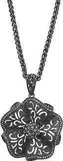 MOONSTONE Fashion Jewelry Pendant for Women, Vintage Classic Flower Crystal Long Chain, Gunmetal