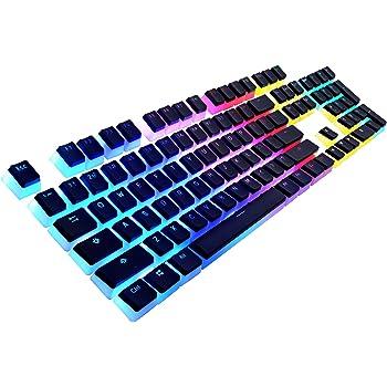 Havit Keycaps 60 87 104 Double Shot Backlit PBT Pudding Keycap Set with Puller for DIY Cherry MX RGB Mechanical Keyboard (Black)