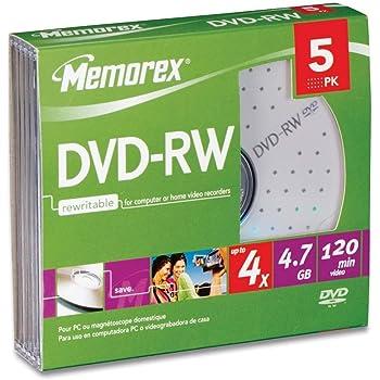 Memorex 4x DVD-RW Media (5 Pack)