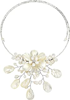AeraVida Pretty White Mother of Pearl & Cultured Freshwater Pearl Floral Choker Wrap Necklace