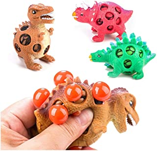 Toner Depot 3 Pack Dinosaur Stress Relief Toys for Kids and Adults, Mesh Dinosaur Squeeze Ball - Sensory, Stress,Fidget - Squishy Toy Mesh Squishy Anti Stress Reliever Jelly Water Beads Grape Ball