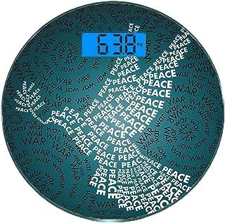 Escala digital de peso corporal de precisión Ronda Guerra Báscula de baño de vidrio templado ultra delgado Mediciones de peso precisas,Paloma Símbolo de paz Palabras sobre Stop the War Warfare Theme A