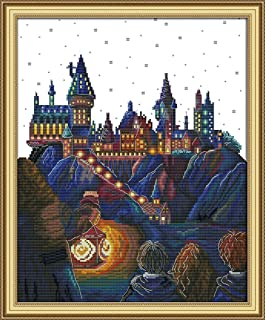 14CT Stamped Cross Stitch Kits Magic Castle DIY Needlework Painting Craft Needlepoint Pattern Embroidery Design Embroidery 28×42CM (Magic Castle)
