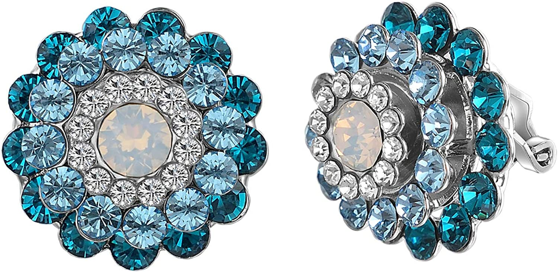 vogem Clip on Earrings for Women CZ Flower Earrings Blue Studs