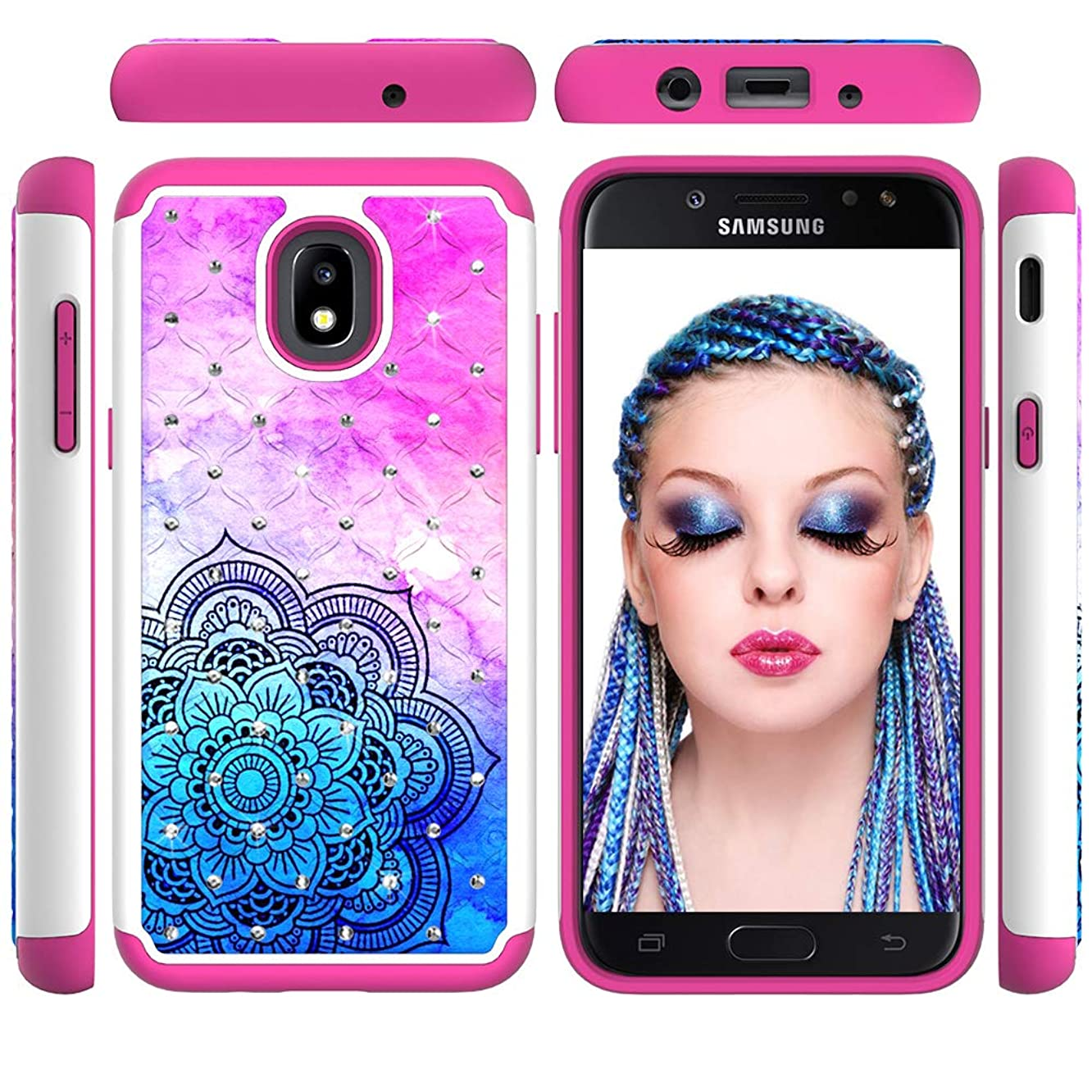 Tulful Phone Case Compatible for Samsung Galaxy J7 2018/J7 Refine/J7 Star/J7 Eon/J7 TOP/J7 Aero/J7 Crown/J7 Aura/J7 V 2nd Cover Kickstand Shockproof Hard Slim Fit Dual Layer Heavy Duty (csmtl)
