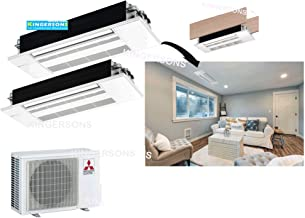 Mitsubishi 18,000 BTU 1.5 TON 2 x 9,000 BTU One Way Ceiling Cassette Dual Zone System - SEER 20 AC & Heat Pump Ductless Ceiling Recessed Cool & Heat Energy Star