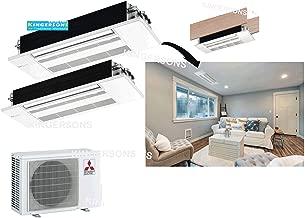 Mitsubishi 27,000 BTU 1.5 TON 18,000 BTU & 9,000 BTU One Way Ceiling Cassette Dual Zone System - SEER 20 AC & Heat Pump Ductless Ceiling Recessed Cool & Heat Energy Star