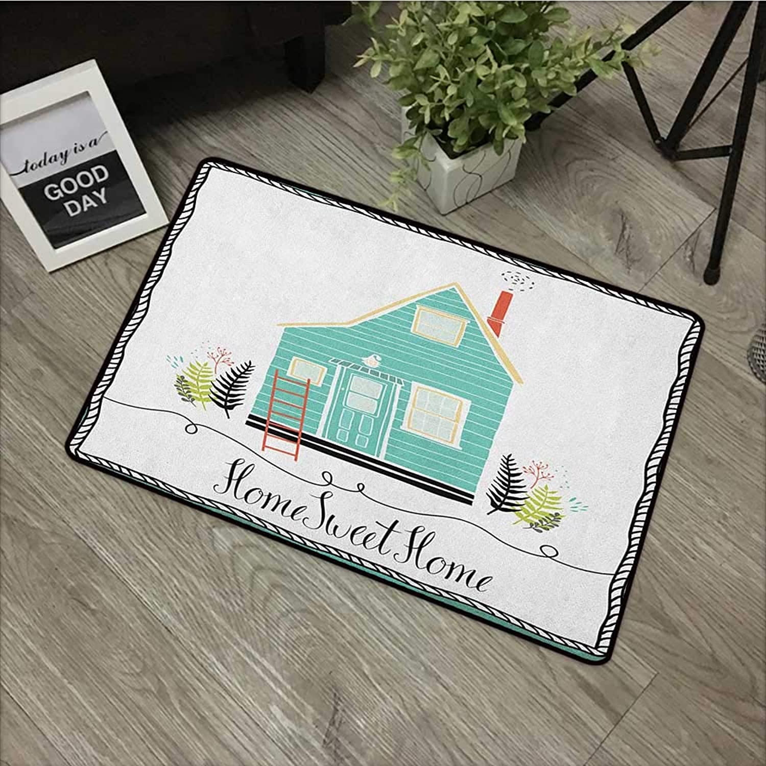 Living Room Door mat W35 x L59 INCH Home Sweet Home,Small House in The Countryside Rustic Theme Fern Leaves Grunge Doodle Frame, Multicolor Non-Slip Door Mat Carpet