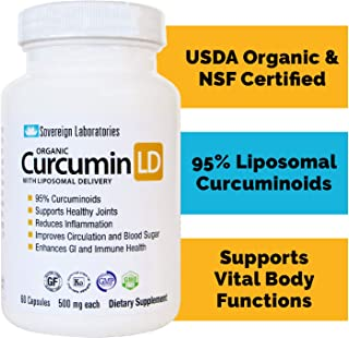 Liposomal Organic Curcumin - BioPerine Free to Prevent GI Issues - 500mg, 60 Veg Caps, Gluten Free, No Fillers - Supports ...