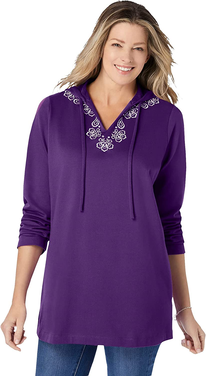 Woman Within Women's Plus Size Embroidered Sweatshirt Tunic