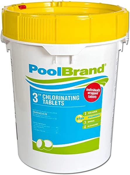 Pool Brand 3 Inch Swimming Pool Chlorine Tablets 50 Pounds