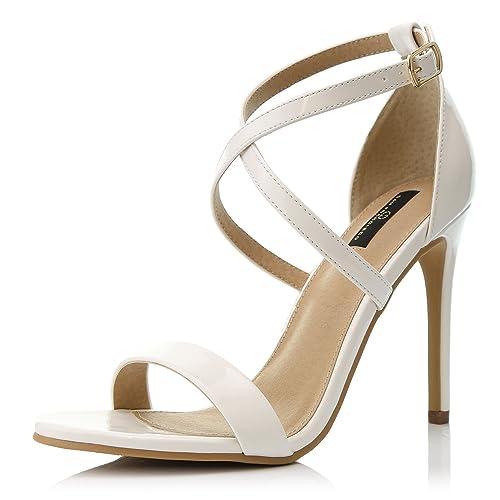 9fb7ac7c4200 DailyShoes Women s High Heel Sandal Open Toe Ankle Buckle Cross Strap  Platform Pump Evening Dress Casual