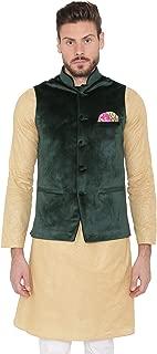 Men's Velvet Grandad Collar Party Nehru Jacket Vest Waistcoat - 7 Colors