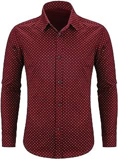 Men's Casual Long Sleeve Dress Shirt Print Cotton Business Button Down Shirts Regular Fit