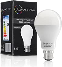 AURAGLOW Super Bright 16w LED B22 Bayonet Light Bulb, Cool White, 6500K -1521 Lumens - 100w EQV - Dimmable