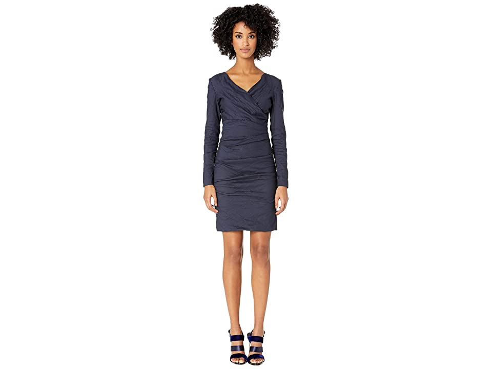 Nicole Miller Surplice Tuck Dress (Navy) Women