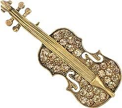 Alilang Violin Brooch Pin Elegant Enamel Rhinestone Crystal Bow Cello Fiddle