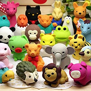 Axe Sickle 30 pcs Non-Toxic Pencil Erasers, Removable Assembly Zoo Animal Erasers for Party Favors, Fun Games Prizes,Kids Puzzle Toys.