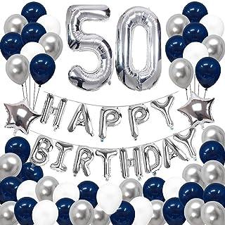 SUNPAT Decoraciones de 50 Cumpleaños, Feliz Cumpleaños Banner Kit Número 50 Set de Decoraciones de Fiesta Con Globos de Ppapel de Aluminio Azul y Astilla Para Hombres
